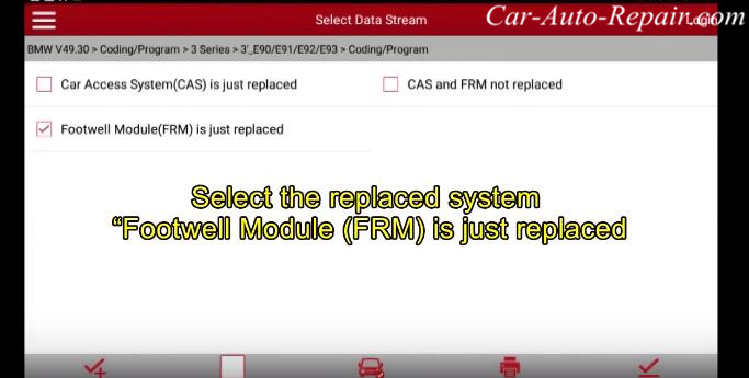 How to Coding for BMW E-series Footwell Module (FRM) by X431 (2)