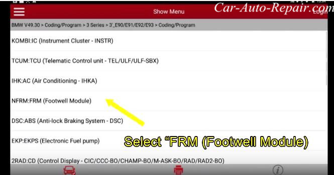 How to Coding for BMW E-series Footwell Module (FRM) by X431 (4)