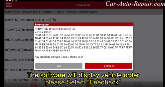 How to Coding for BMW E-series Footwell Module (FRM) by X431 (5)
