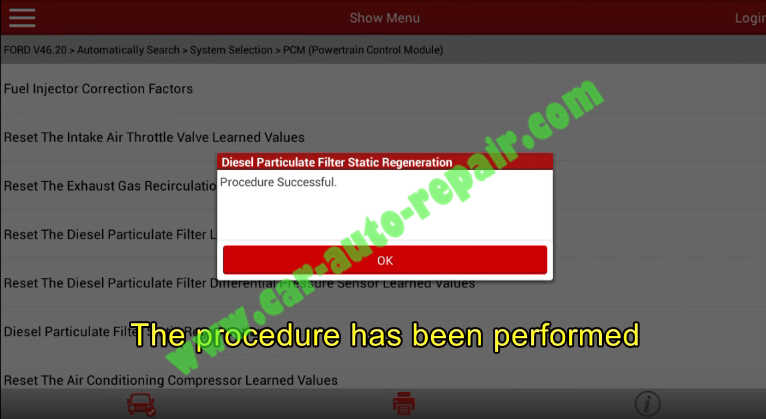 Launch X431 Perform DPF Static Regeneration for Ford Fiesta 2011 (13)