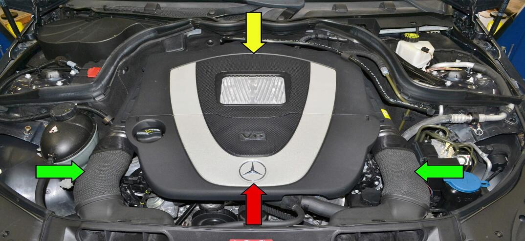 How to Remove Benz C Class W204 Engine Cover (1)