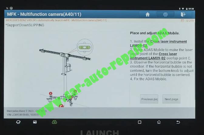 Benz-E260-A28600-DTC-Front-Camera-Calibration-by-Launch-X431-ADAS-10