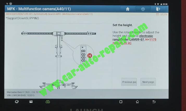 Benz-E260-A28600-DTC-Front-Camera-Calibration-by-Launch-X431-ADAS-12