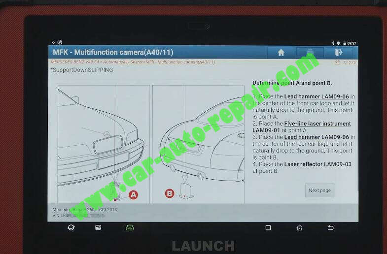 Benz-E260-A28600-DTC-Front-Camera-Calibration-by-Launch-X431-ADAS-7