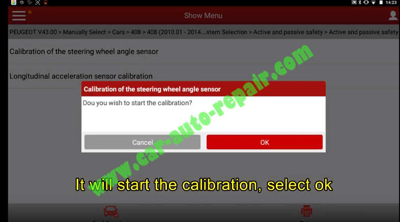 Peugeot 408 2011 Steering Wheel Angle Sensor Calibrating by X431 (10)
