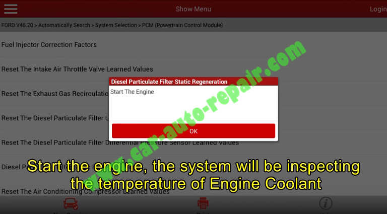 Launch X431 Perform DPF Static Regeneration for Ford Fiesta 2011 (10)