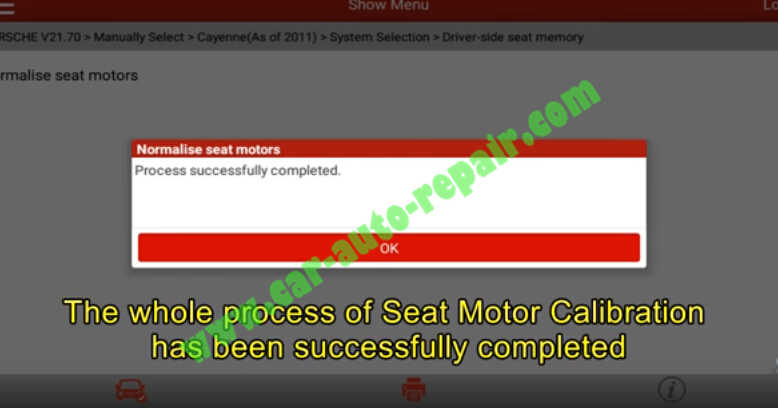 Porsche Cayenne 2011-2016 Seat Motor Calibration by Launch X431 (13)