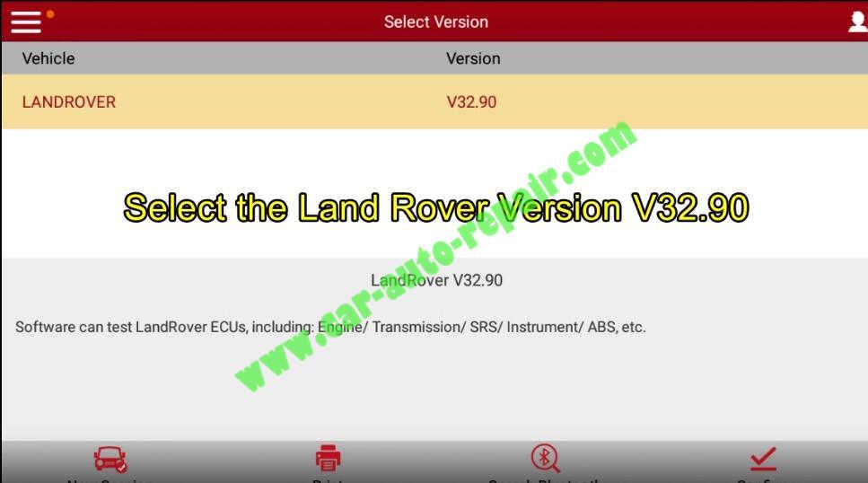 Lauch X431 Calibrate Longitudinal Accelerometer for Range Rover Evoque 2012