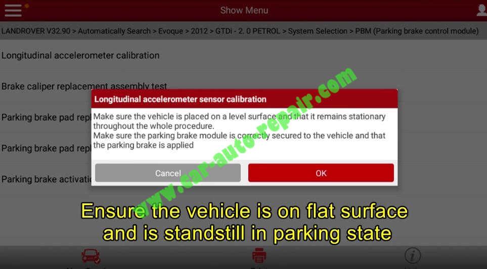 Lauch X431 Calibrate Longitudinal Accelerometer for Range Rover Evoque 2012 (7)