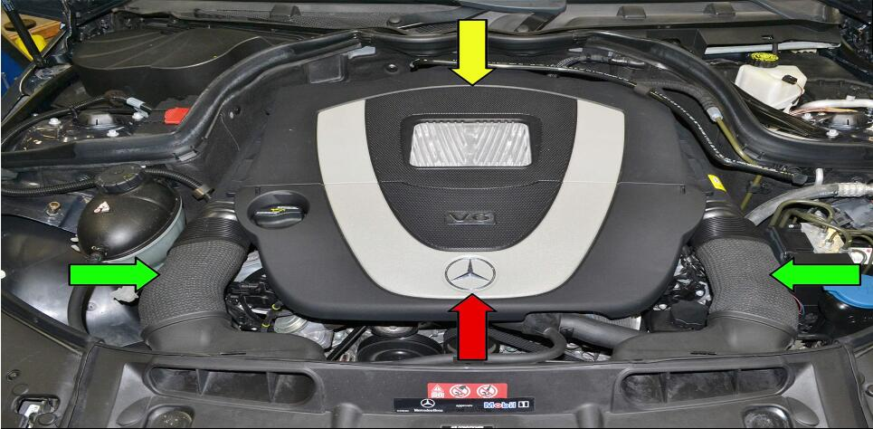 It is a step-by-step guide on how to clean Mercedes Benz throttle body by yourself. Cleaning your throttle body is a quick and easy way to improve the performance and mileage on your vehicle This guide can compatible to vehicle models: Benz C350 (2007-14), SLK350 (2004-14), CLS350 (2004-14), CLK350 (2005-14), E350 (2005-14), S350 (2005-14), SL350 (2005-14), R350 (2006-14), ML350 (2006-14), Viano (2005-14), Sprinter (2006-14), CLC350 (2008-14), GLK350 (2008-12) Procedures: You will need to remove the engine covers(red and yellow arrows) and air intake ducts (green arrows) to perform this work.Please see our article on engine cover: How to Remove Benz C Class W204 Engine Cover 1 You next to need to remove the MAF (red arrow) and vacuum line (yellow arroww).Please see our article on MAF sensor replacement for additional information: How to Replace MAF Sensor for Mercedes Benz W204 2 Disconnect the breather hose from the rear of the right cylinder head (red arrow) 3 Unclip the two plastic clips on the elbow piece between the MAF and throttle body (red arrow) and remove the elbow and attached hose. 4 You now have some room to work.Depending on what hand you are better with spray a rag with carb cleaner and reach into the throttle body and clean the opening and valve (red arrow) 5 The lower right side of the throttle body tends to build up more oil and dirt than the left due to the proximity of the breather hose(red arrow).You can manually open the throttle valve while doing this to clean behind it.It is very difficult to see in the throttle body opening without using a mirror (and more difficult to get picture of so sorry for the slightly blurry photo).If you do not have a small mirror just keep wiping until the rag comes out clean.After cleaning installation is the reverse of removal. 6