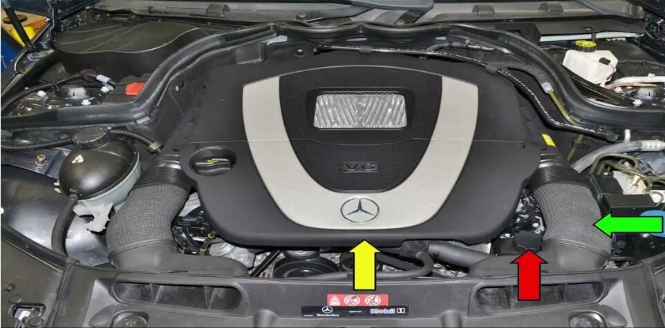 Improperly filling and bleeding your power steering fluid can cause damage to your system,so this article show a guide on how to fill and bleed properly for your Benz W204.  Applies to: Benz C350 (2007-14), SLK350 (2004-14), CLS350 (2004-14), CLK350 (2005-14), E350 (2005-14), S350 (2005-14), SL350 (2005-14), R350 (2006-14), ML350 (2006-14), Viano (2005-14), Sprinter (2006-14), CLC350 (2008-14), GLK350 (2008-12)  Time: 1 hour  Tab: $15 to $40  Talent: 1  Tools: An assistant Parts Required: Power steering fluid  Hot Tip: Keep everything really clean  Performance Gain: Proper steering  Complementary Modification: Change cabin air filter  Pump Steering System Fill and Bleed Guide: The power steering pump and reservoir are located at the left front of the motor (red arrow).Chances are if you are reading this article you have replaced the pump or reservoir and have already removed most of there components.While you do not need to remove anything to just top up the fluid it is easier to get a few simple things out of the way when filling and bleeding.Remove the front engine cover (yellow arrow) by pulling it straight up and off from the center of the piece.Remove the left air duct by compressing it off the air filter housing and then slipping it off the duct(green arrow). 1 Make sure to carefully clean around the cap and reservoir (red arrow).Introducing dirt into the system is as bad as getting air in. 2 Always use the correct fluid for your system. 3 Fill the reservoir until the level is approximately 10 mm below the upper edge (red arrow) 4 Do Not start the engine yet.Starting the engine has the potential to introduce air into the system,and you do not want that! 5 Turn the steering wheel slowly from steering stop to steering stop until no bubbles appear in the reservoir.As the fluid work its way into the hoses and rack have your assistant continue to add power steering fluid.Don't let the level get low.Turn the wheel slowly at least thirty times in each direction fro stop to stop (red and yellow arrows) 6 Remember to keep checking the level (red arrow)!When you first start turning the wheel your assistant should be continuously poring fluid in as the fluid moves from the reservoir to the hoses and rack. 7 Start the motor but do not touch the steering wheel.You should have your assistant watching the level as the motor is starting and adding fluid to make sure the reservoir does not get low. 8 With the engine running slowly turn the steering wheel several times from stop to stop while your assistant adds fluid as needed.Repeat this procedure until the level in the reservoir remains constant and no bubbles are visible. 9 Check for leaks then top up the reservoir until it is at the proper fill level on the dipstick in the cap (red arrow). 10 Done!