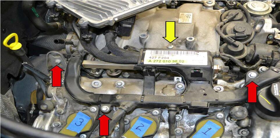 How to Replace Fuel Injector for Benz C350 (5)