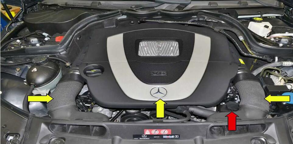 The power steering pump on the Mercedes is a very well made pump but like all things mechanical can and will wear out over time. If you are seeing leaking fluid from around the pump area make sure to inspect the O-ring on the rear of the reservoir before replacing the pump.Now I want to share the guide on how to replace power steering pump for Benz W204.  Applies to:C350 (2007-14), SLK350 (2004-14), CLS350 (2004-14), CLK350 (2005-14), E350 (2005-14), S350 (2005-14), SL350 (2005-14), R350 (2006-14), ML350 (2006-14), Viano (2005-14), Sprinter (2006-14), CLC350 (2008-14), GLK350 (2008-12)  Time: 4 hours  Tab: $320 to $1,300  Talent: 3 Tools: 22mm wrench, E12 socket, T30 Torx, flathead screwdriver, pliers,fluid pump  Parts Required: Pump, power steering fluid, crush washers  Hot Tip: Keep everything really clean  Performance Gain: Proper steering Complementary Modification: Bleed system  Procedures: The power steering reservoir and pump are located on the front left of the motor (red arrow).To replace it you will need to remove the two-air inlet ducts as well as the front engine cover (yellow arrows).Please see my article on engine cover removal:How to Remove Benz C Class W204 Engine Cover 1 You may want to remove the front trim cover for additional room.To remove the cover turn the plastic lock (yellow arrow) 90 degrees to un-clock it.Remove the overflow and cable release from the cover (red arrow).Then pull forward on the cover on each side (green arrows) and lift the rear of the cover up and remove it. 2 Carefully clean the area around the fill cap on the reservoir.Open it and use a fluid pump to suck as much fluid as you can from the reservoir (red arrow).No matter how good a job you do of removing the fluid there will still be some left when you remove the reservoir,so be prepared for it. 3 Use a quarter-inch drive T30 Torx and remove the three bolts (red arrows).The bolts will remain in the reservoir housing after you unscrew the from the motor. 4 The reservoir is
