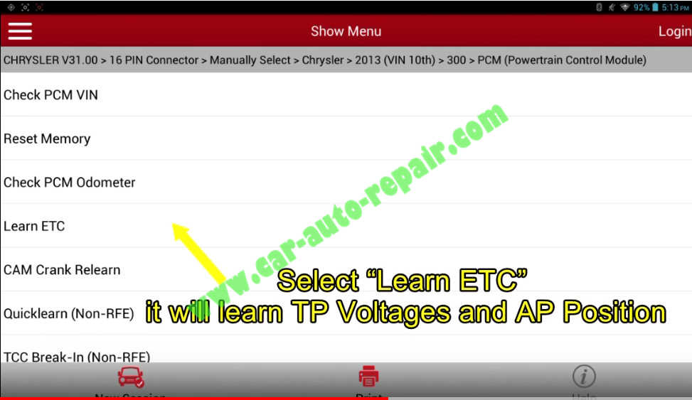 Chrysler 300 Electronic Throttle Control Reset/Learning by