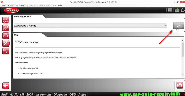 Delphi DS150E Change InstrumentDashboard Language for Audi A3 (4)