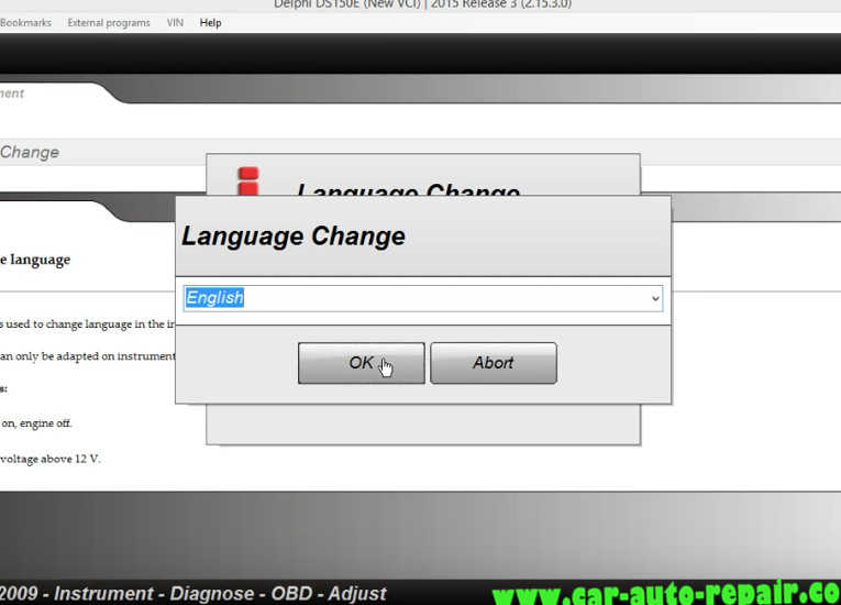 Delphi DS150E Change InstrumentDashboard Language for Audi A3 (8)