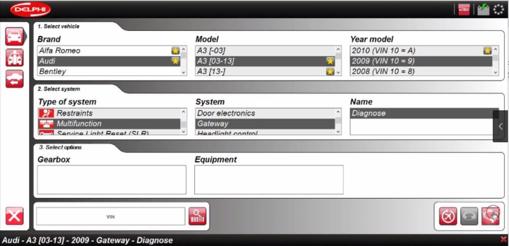 Delphi DS150E Diagnose Audi A3 2009 Gateway Real-time Data (1)