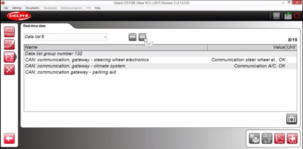 Delphi DS150E Diagnose Audi A3 2009 Gateway Real-time Data (7)