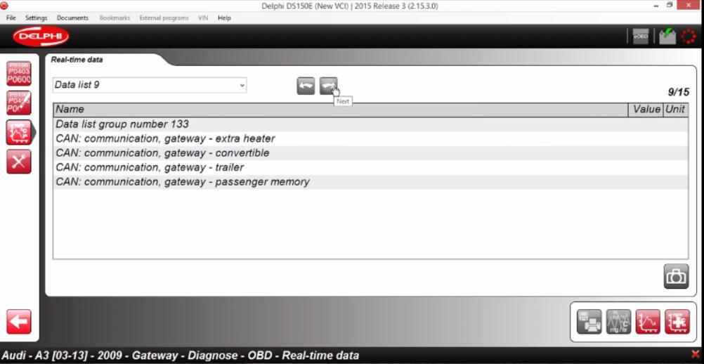 Delphi DS150E Diagnose Audi A3 2009 Gateway Real-time Data (8)