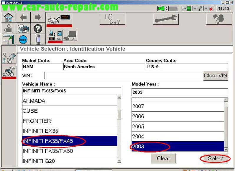 Nissan Consult 3 Plus Diagnos Read DTCs for Infiniti FX3545 2003 (11)