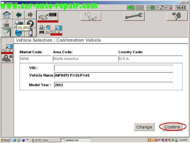 Nissan Consult 3 Plus Diagnos Read DTCs for Infiniti FX3545 2003 (12)