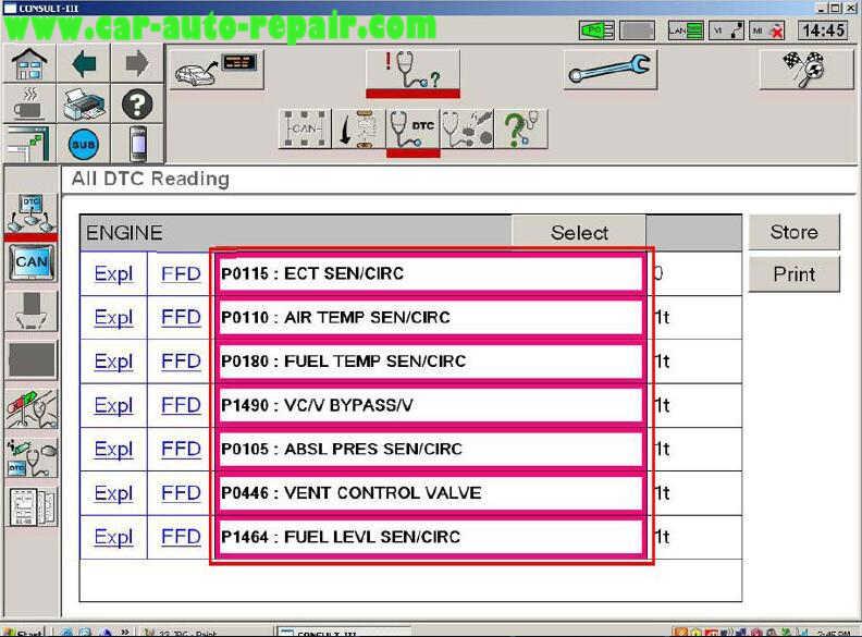 Nissan Consult 3 Plus Diagnos Read DTCs for Infiniti FX3545 2003 (15)