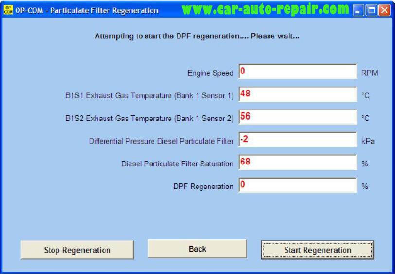 Opel DPF Forced Regeneration Manually by OPCOM VAXU-COM (2)