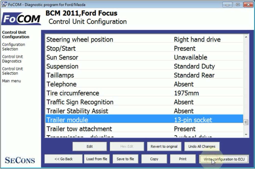 FCOM BCM Trailer Hitch Type Configuration for Ford Focus 2011 (11)
