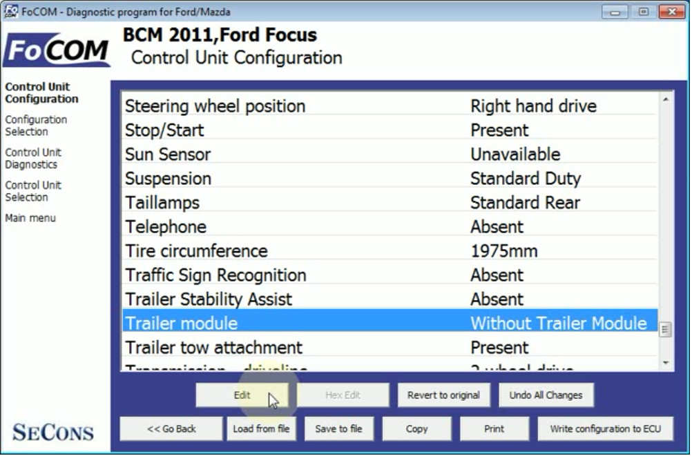 FCOM BCM Trailer Hitch Type Configuration for Ford Focus 2011 (9)