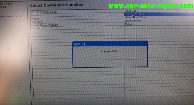 Lexus ES330 2005 Remote Power Window Coding by Toyota Techstream (7)