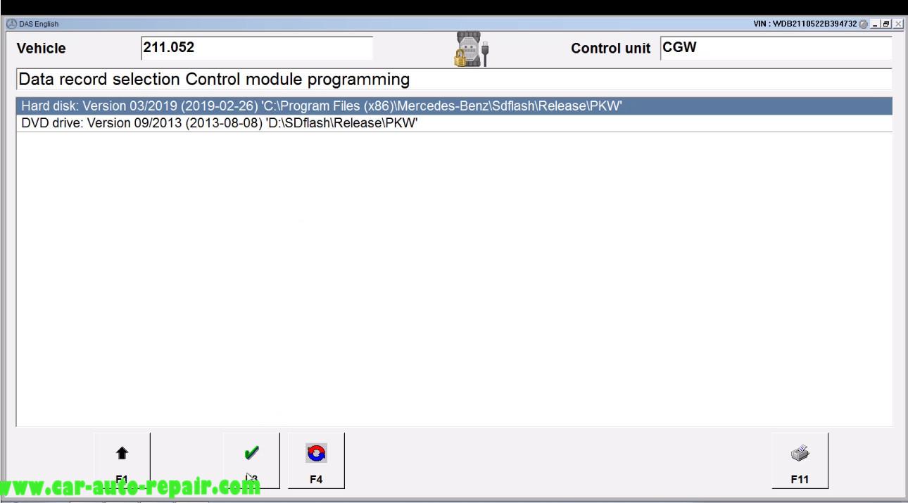 Benz E211 Central Gateway Offline Coding by DAS Xentry (9)