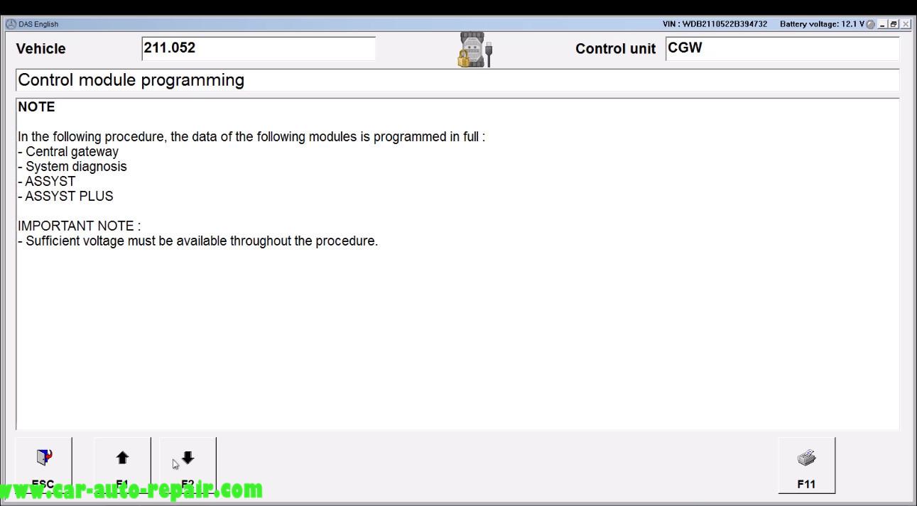 Benz E211 Central Gateway Offline Coding by DAS Xentry (8)