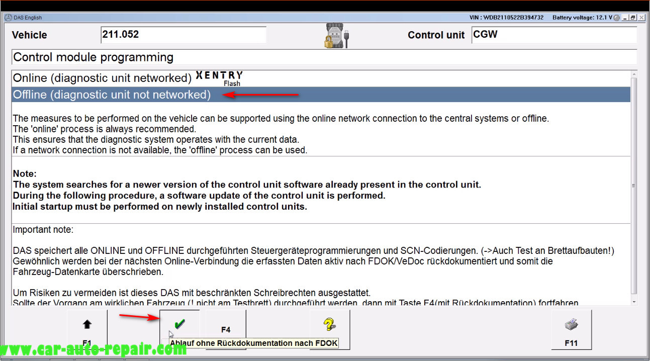 Benz E211 Central Gateway Offline Coding by DAS Xentry (9)