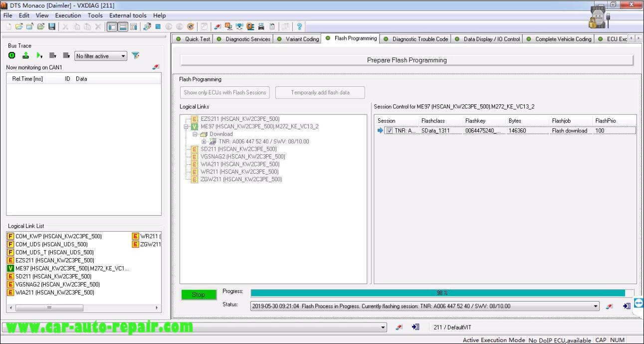 Benz W211 ME97 ECU Flash Programming by DTS Monaco (8)