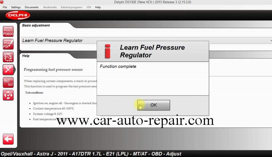 How to Use DS150E Learn Fuel Pressure Regulator for Opel Astra J 2011 (10)