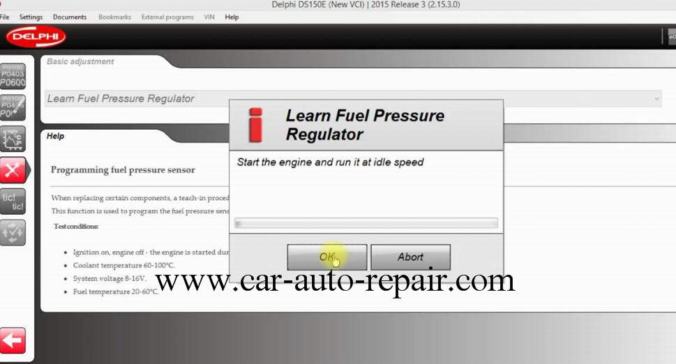How to Use DS150E Learn Fuel Pressure Regulator for Opel Astra J 2011 (7)