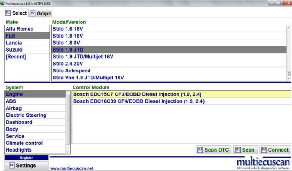How to Use Multiecuscan to Diagnose Fiat Stilo 1.9 JTD (2)