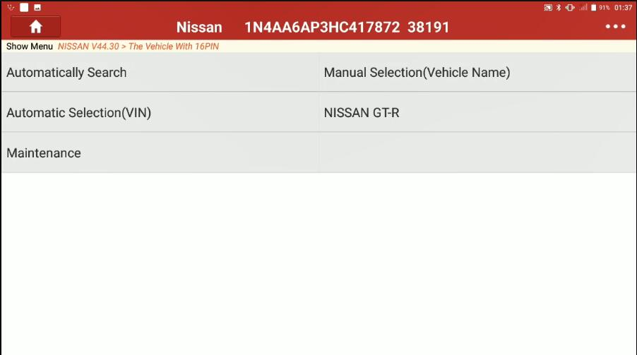 Nissan Maxima 2017 Idle Air Volume Learning by Launch X431 (2)