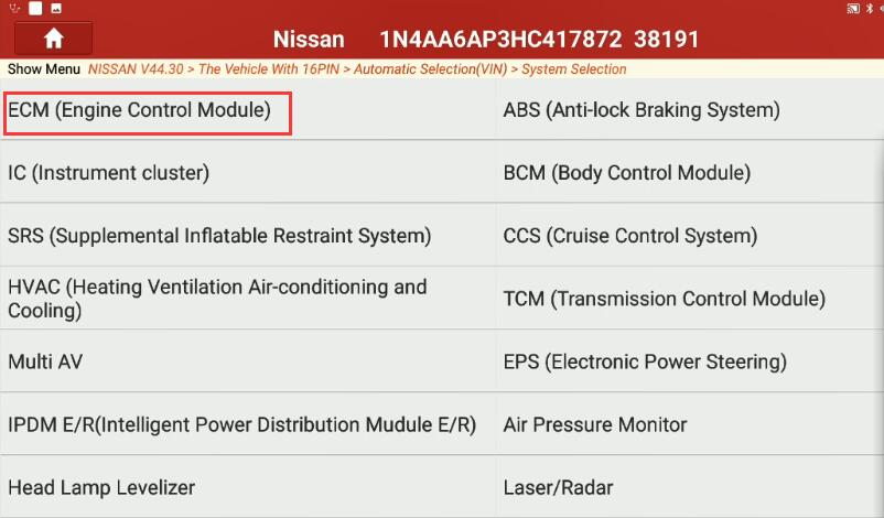 Nissan Maxima 2017 Idle Air Volume Learning by Launch X431 (3)