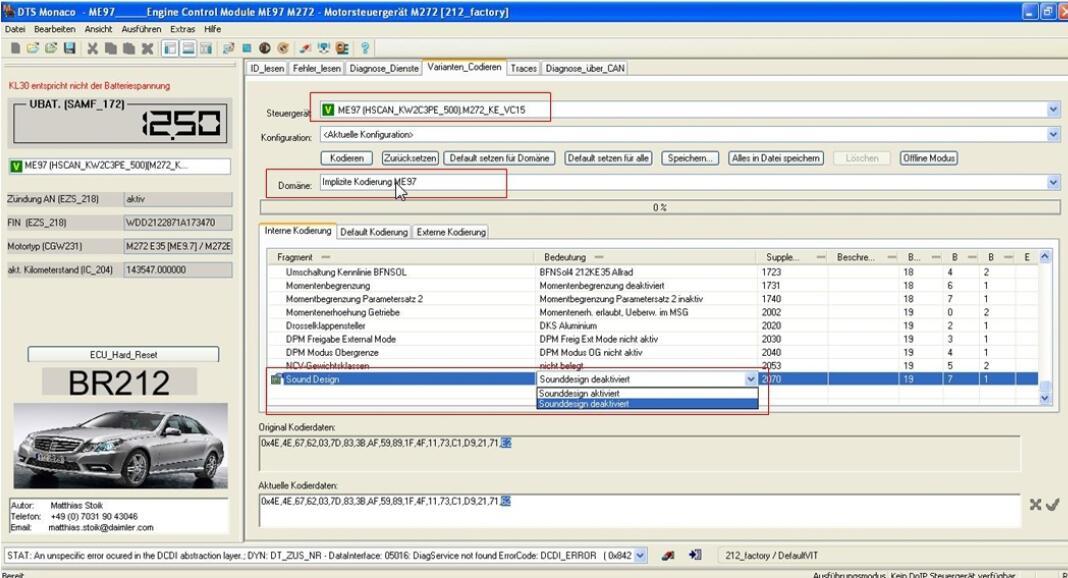 Activate Benz ECU Fahrdynamik/Drive Dynamic Function