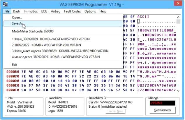 Change-Cluster-Mileage-for-Volkswagen-Passat-by-VAG-EEPROM-3
