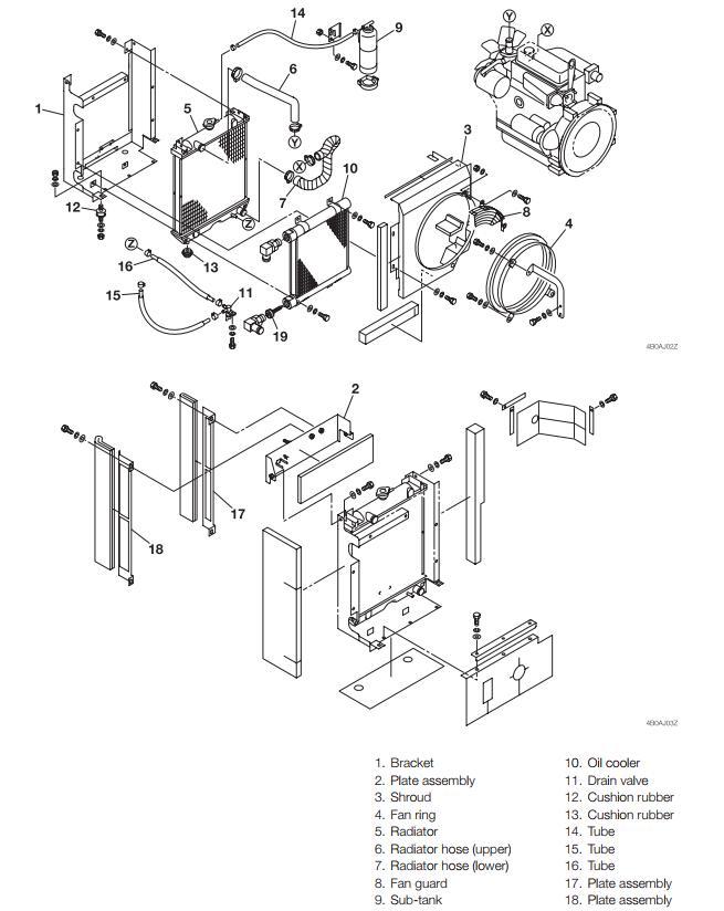 Takeuchi-TB128-Excavator-Radiator-Cooler-Removal-and-Installation-1
