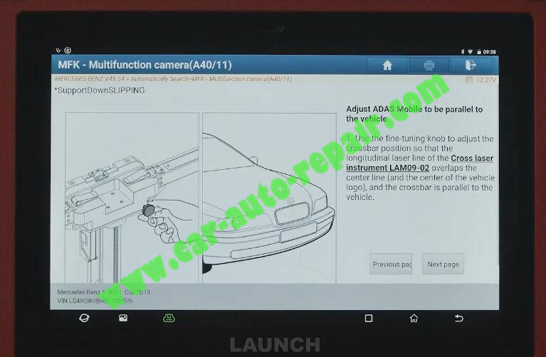 Benz-E260-A28600-DTC-Front-Camera-Calibration-by-Launch-X431-ADAS-11