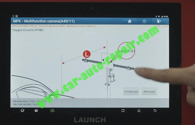 Benz-E260-A28600-DTC-Front-Camera-Calibration-by-Launch-X431-ADAS-13