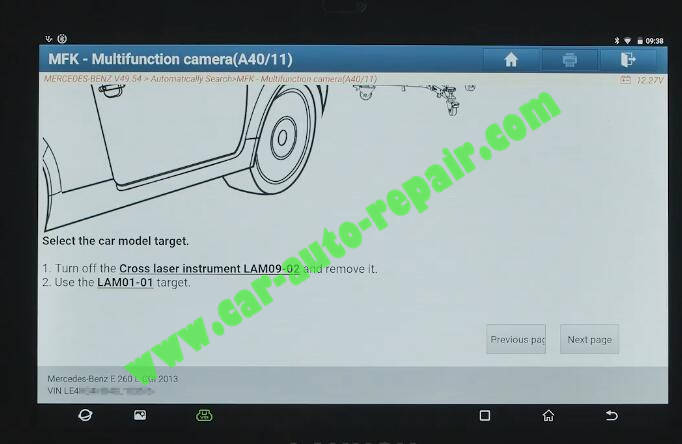 Benz-E260-A28600-DTC-Front-Camera-Calibration-by-Launch-X431-ADAS-14