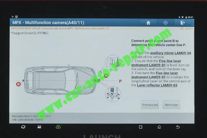 Benz-E260-A28600-DTC-Front-Camera-Calibration-by-Launch-X431-ADAS-8