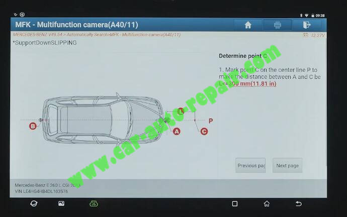 Benz-E260-A28600-DTC-Front-Camera-Calibration-by-Launch-X431-ADAS-9
