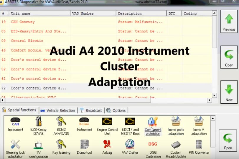 How-to-Reset-Component-Protection-Instrument-Cluster-via-ABRITES-on-Audi-A4-2010-1