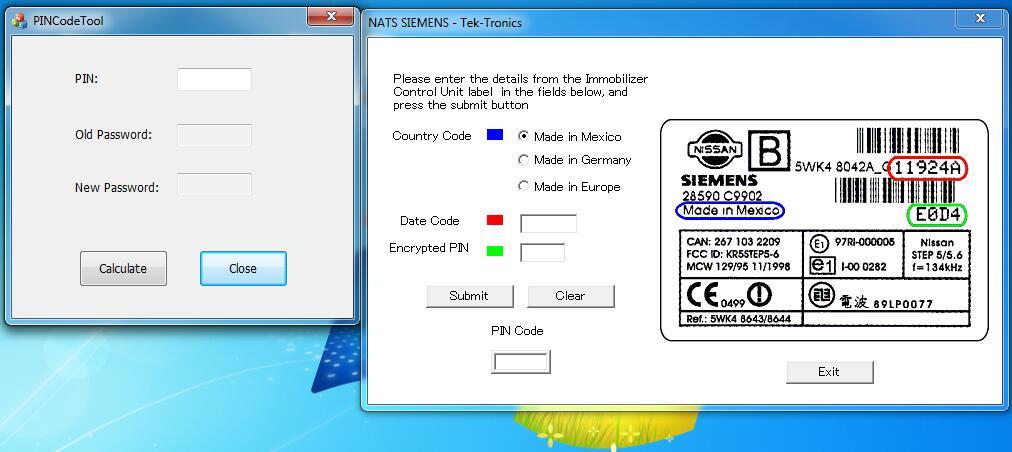 Nissan & Infiniti PIN Code Calculator 2 in 1